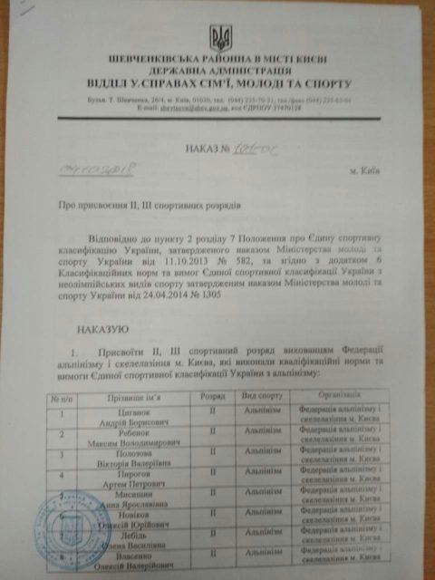 Вітаємо київських альпіністів з присвоєнням розрядів!